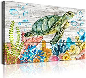 family Bathroom Wall Decor Wall Art Decor for Bedroom kitchen wall Pictures Green Sea Turtle Pictures Wall Art Ocean Artwork wall Paintings office Canvas Prints home Decor Framed Ready to Hang