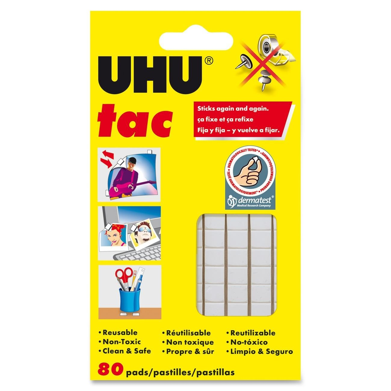 Amazon.com : Saunders UHU Tac Removable Adhesive Putty Tabs - Non Toxic  Tape Dry Adhesive for Eliminating Frequent Repairing Requirements.