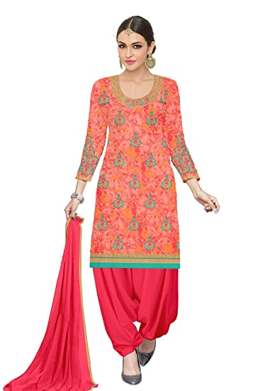 2d349182d2 Udaan Women's Printed Satin Embroidered Top with Nazneen Dupatta and Cotton  Bottom Unstitched Salwar Suit Material