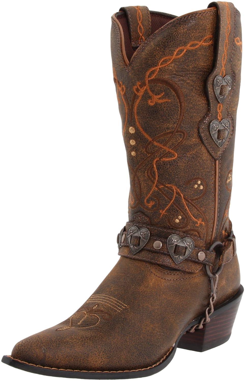 Durango Women's Crush Cowgirl Boot B0037KGLNK 9 B(M) US|Saddle Brown W/Tan & Brown