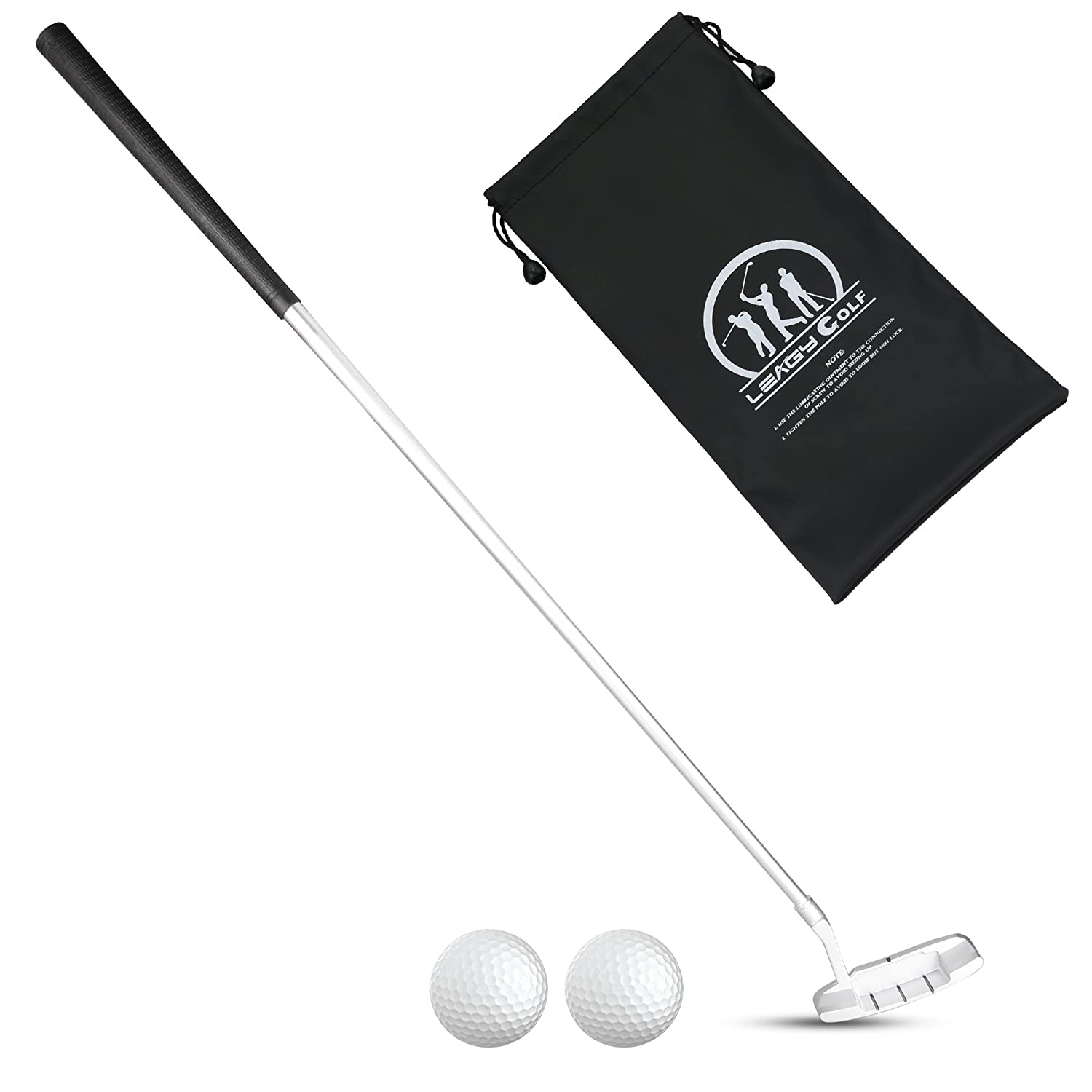 LEAGY 4-Sections Portable Best Golf Right Hand Putter or Golf Two-Way Putter Left and Right Hand, 2 Golf Balls Isolated On White Background, 1Pack ...