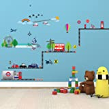 Walplus Wall Stickers London Transport Removable Self-Adhesive Mural Art Decals Vinyl Home Decoration DIY Living Bedroom Office Décor Wallpaper Kids Room Gift, Multi-colour