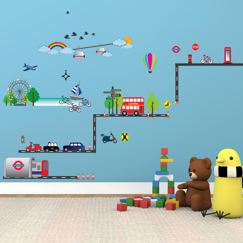 Walplus Stickers muraux pour chambre d enfant Transports