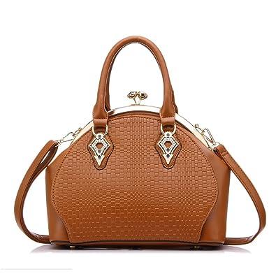 2596d8ff8314 Women Handbag Purses PU Leather Tote Bag Kiss Lock Closure Office Shoulder  Bag by Realer Brown  Amazon.in  Shoes   Handbags