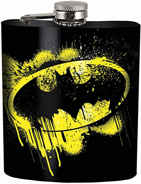 Spoontiques 15638 Batman Hip Flask 7 Ounces Black