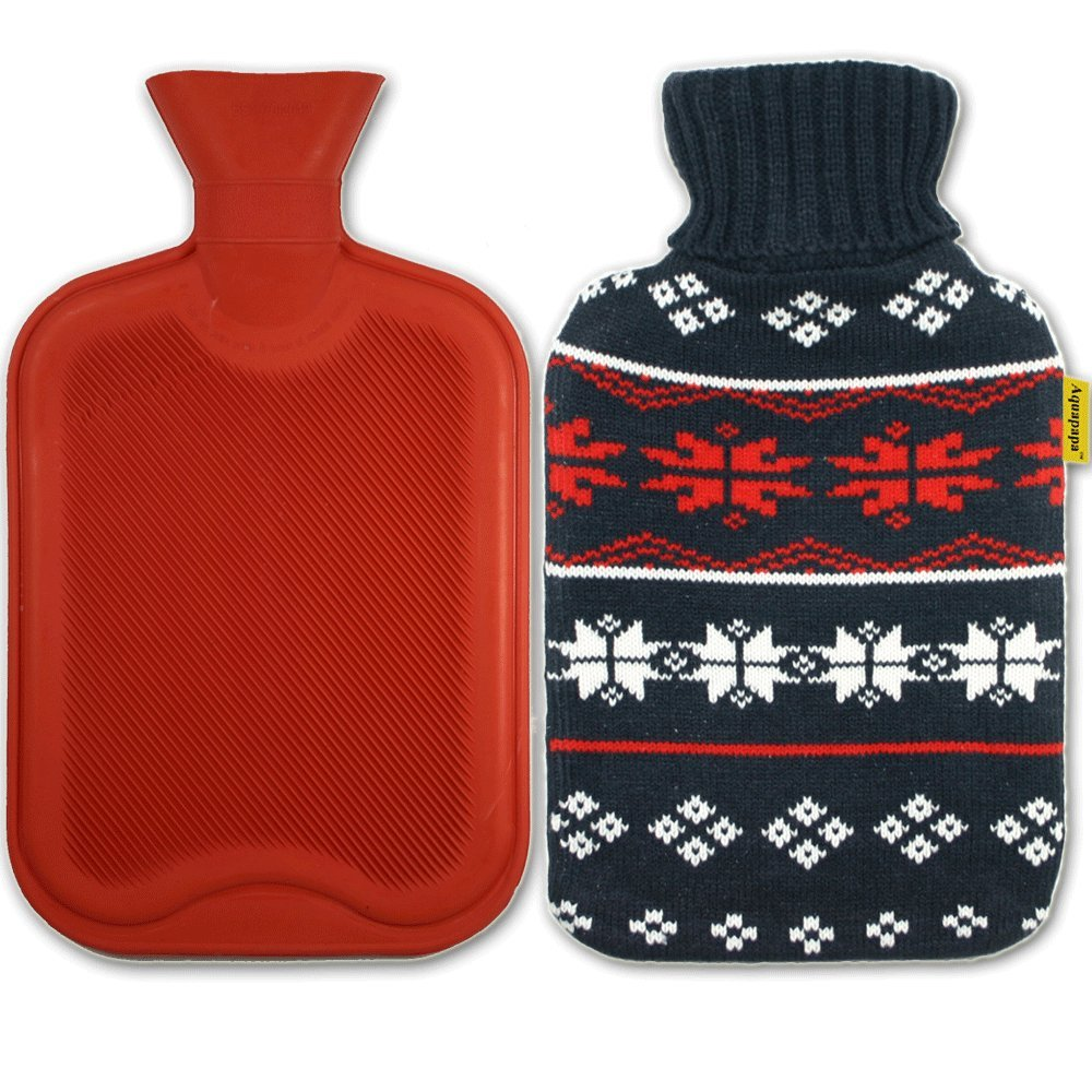 AQUAPAPA Large 1/2 Gallon Classic Non Toxic Natural Rubber Hot Water Bottle with Snow Flake Knit Cover, Back Pain Relief, Cold Feet Syndrome, 2 Liters