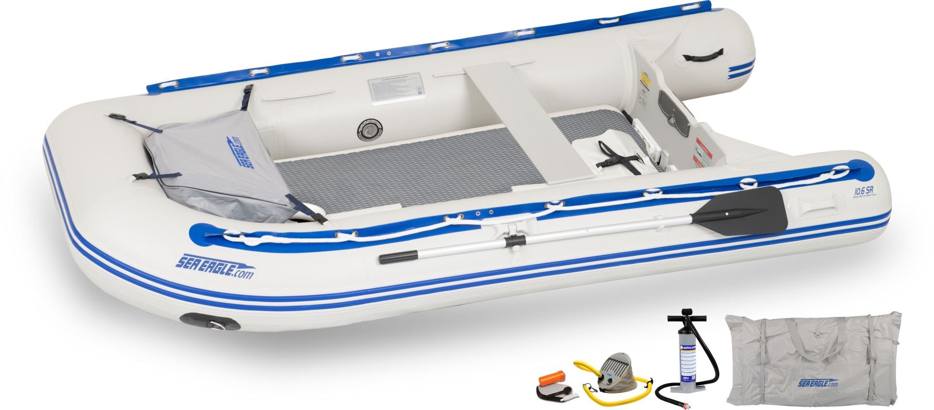 Sea Eagle 106SRKDT Transom Stop Stitch Deluxe Sport Runabout Boat Packages
