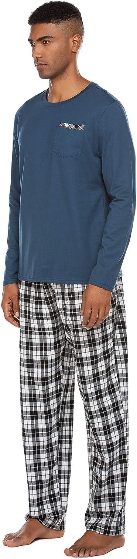 Ekouaer Mens Pajama Set with Plaid Pants Comfy Long Sleeve Sleepwear Pjs Set with Pockets Loose Loungewear S-XXL