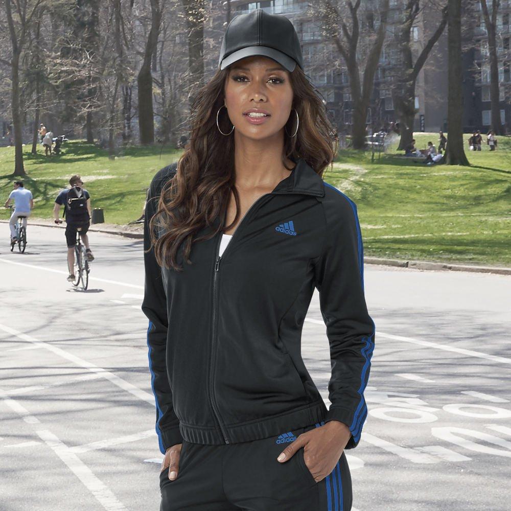adidas Womens Designed 2 Move Track Top, Black/Blue, Medium