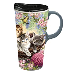 "Cypress Home Kittens in the Flowers 17 oz Boxed Ceramic Perfect Travel Coffee Mug or Tea Cup with Lid - 3""W x 5.25""D x 7""H"
