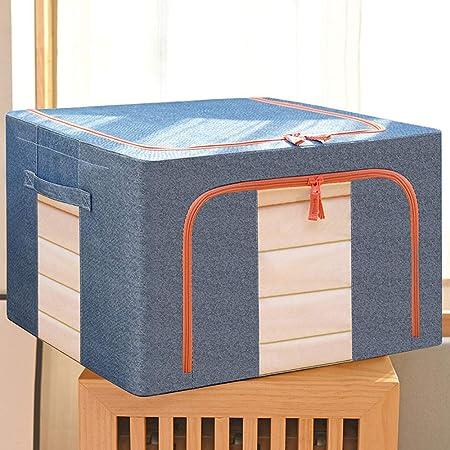 GAOWF Ropa Juguete Caja de Almacenamiento Caja de Almacenamiento Tela para el hogar Algodón y Ropa de Cama Caja de Almacenamiento Marco de Acero Grande Plegable Bana Box,Azul,100L: Amazon.es: Hogar