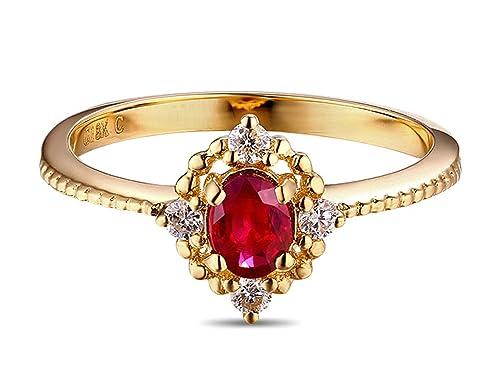 Epinki 18k Oro Anillos para Mujer Anillo Rubí Anillo Propuesta Matrimonio Anillo de Diamante Oro con