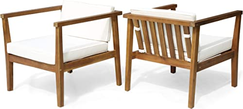 Blake Outdoor Acacia Wood Club Chairs with Water-Resistant Cushions Set of 2 , Teak and Beige