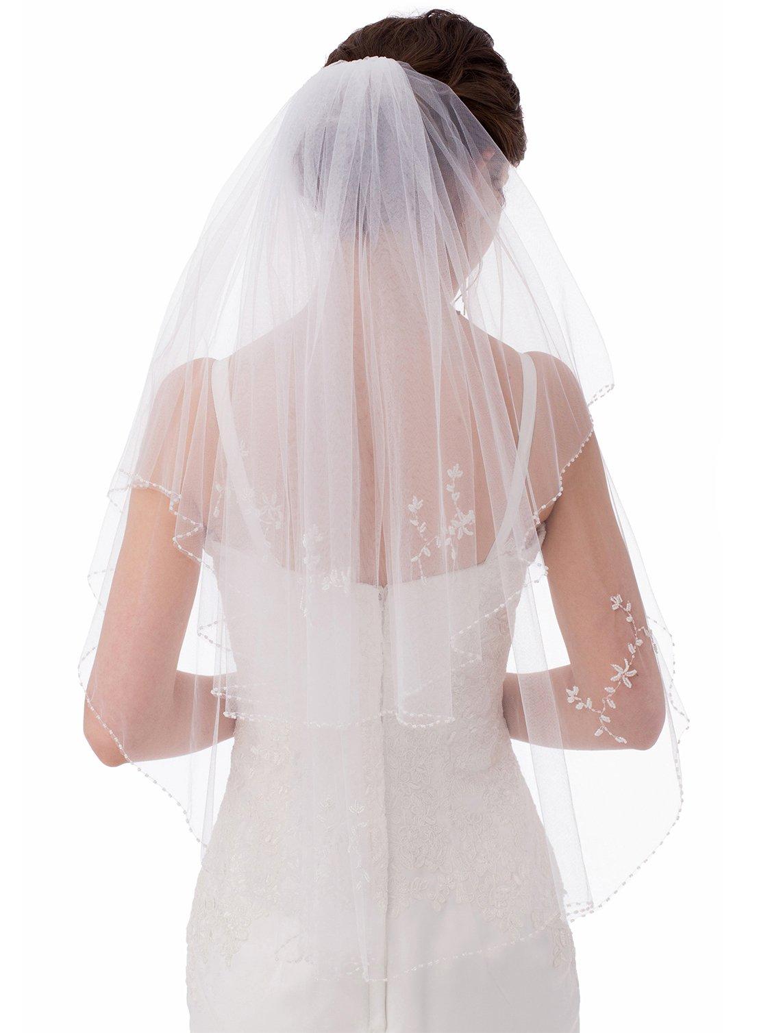 Emondora 2T Short Sequin Pearl Edge Crystals Beaded Bling Wedding Bridal Veil Ivory