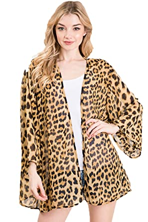 c75dad8a79af Leopard Thin Chiffon Loose fit Kimono Sleeve Cardigan Sweater- Cover up and  Robe (Brown