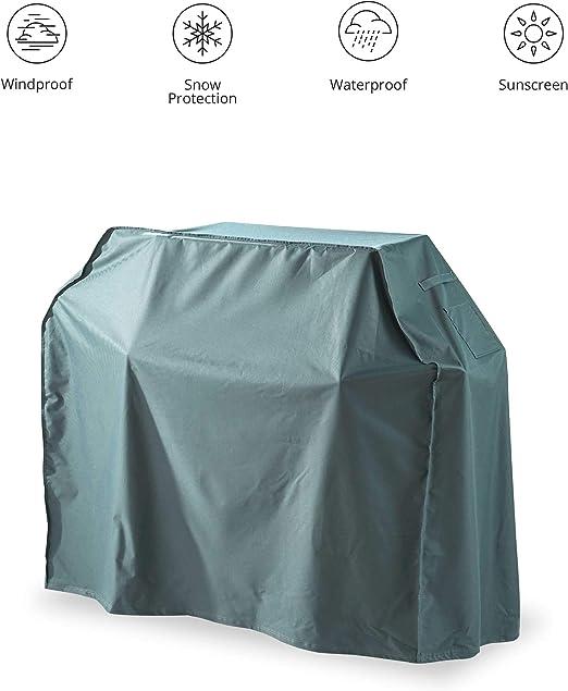 Lumaland Cubierta Lona Protectora Impermeable para Muebles de jardín Cubierta para Grill Parrilla 133 (Alto) x 183 (Largo) x 68 (Ancho) cm Oxford 600D Verde/Gris: Amazon.es: Jardín