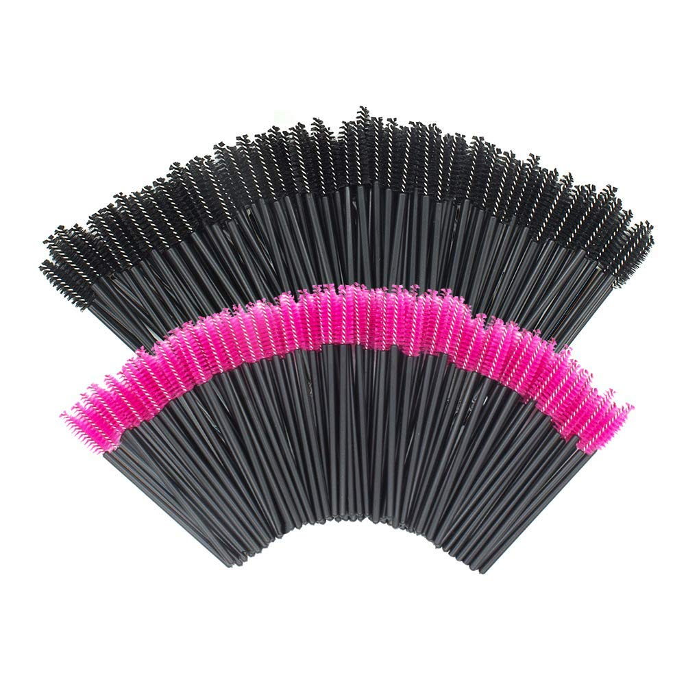 GoWorth 200 PCS Disposable Eyelash Mascara Brushes Makeup Brush Wands Applicator Makeup Kits(Rose Red & Black)…