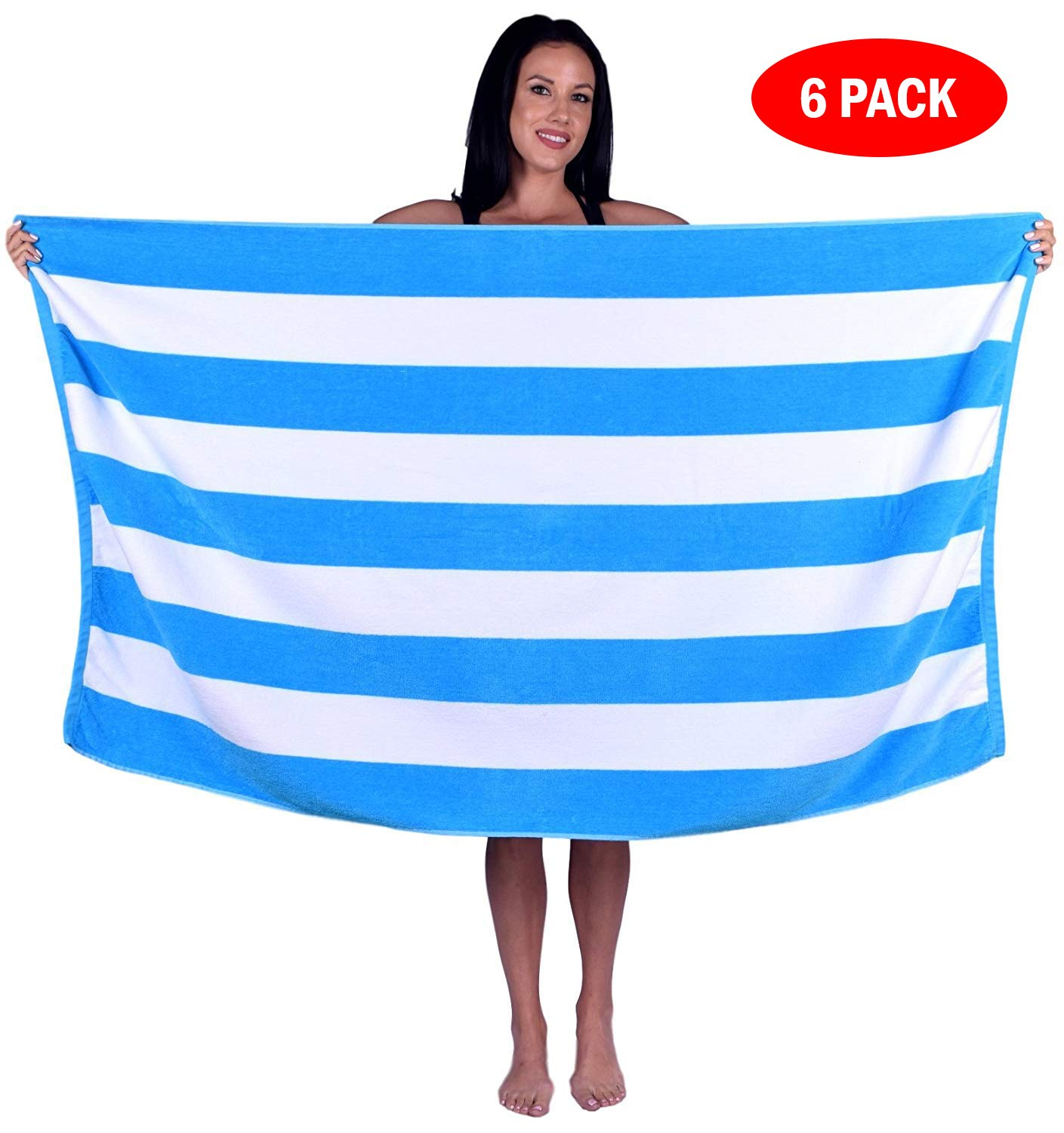 Turquoise Textile 100% Turkish Cotton Eco-Friendly Cabana Stripe Pool Beach Towel, 35x60 Inch (6 Pack, Aqua)