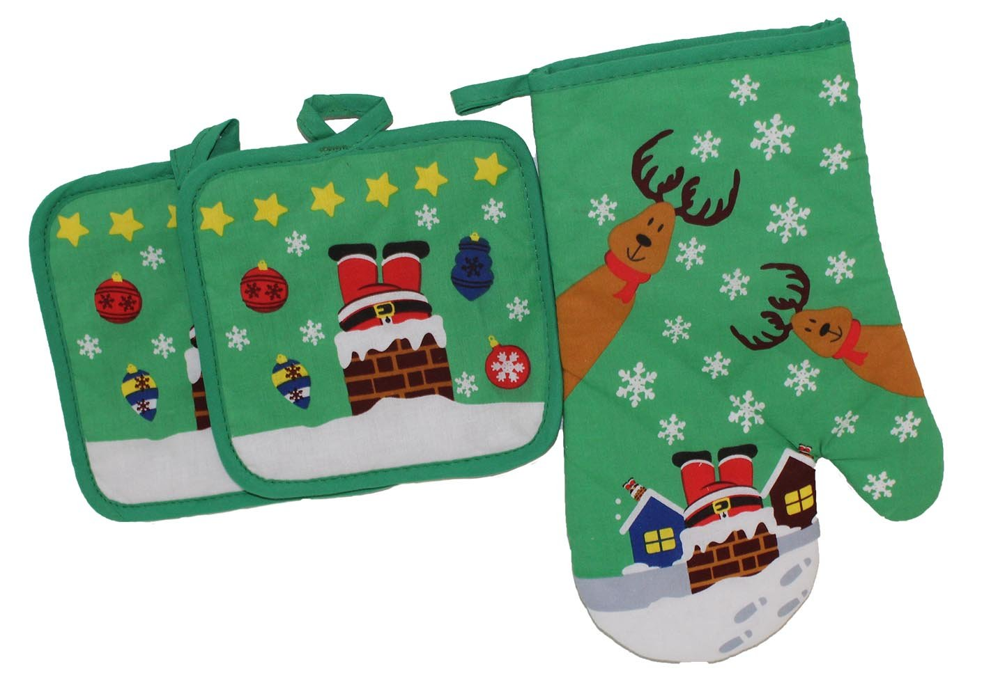 Blue Star Clothing 3 Piece Set Christmas Holiday Printed Kitchen Quilted 100% Cotton Oven Mitt & 2 Pot Holders | Heat/Flame Resistant Mitten Glove