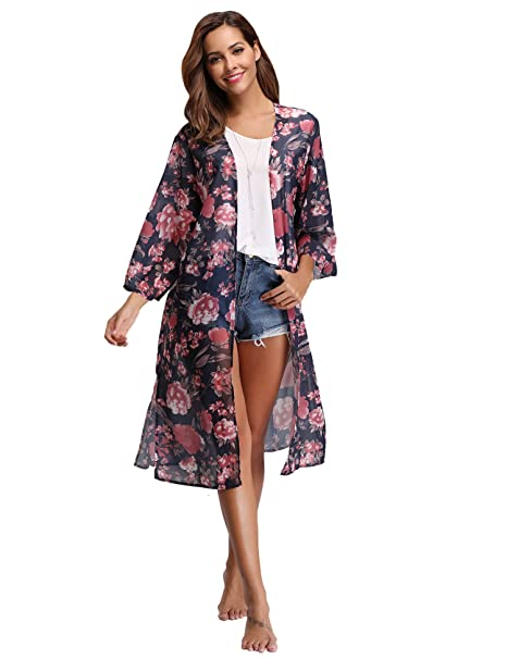 a37ff591a7 Abollria Womens Chiffon Floral Loose Cover Ups Kimono Cardigan Open Front  Blouses Sheer Tops Deep Blue