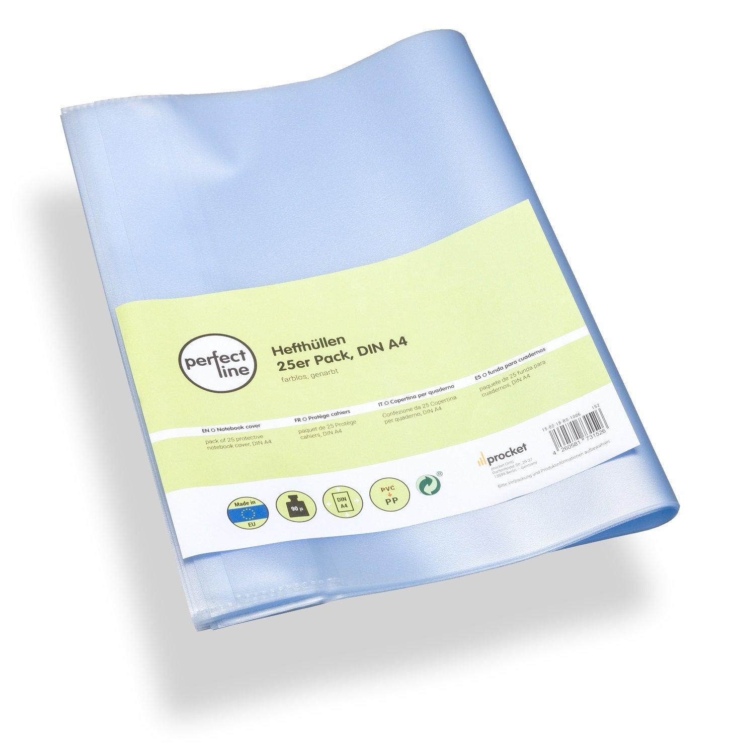 perfect line 25 buste per quaderni trasparenti formato A4, copertina per libro flessibile & pulibile, proteggi quaderno con copertine, custodia di protezione, pellicola protettiva, Coprilibri plastica procket