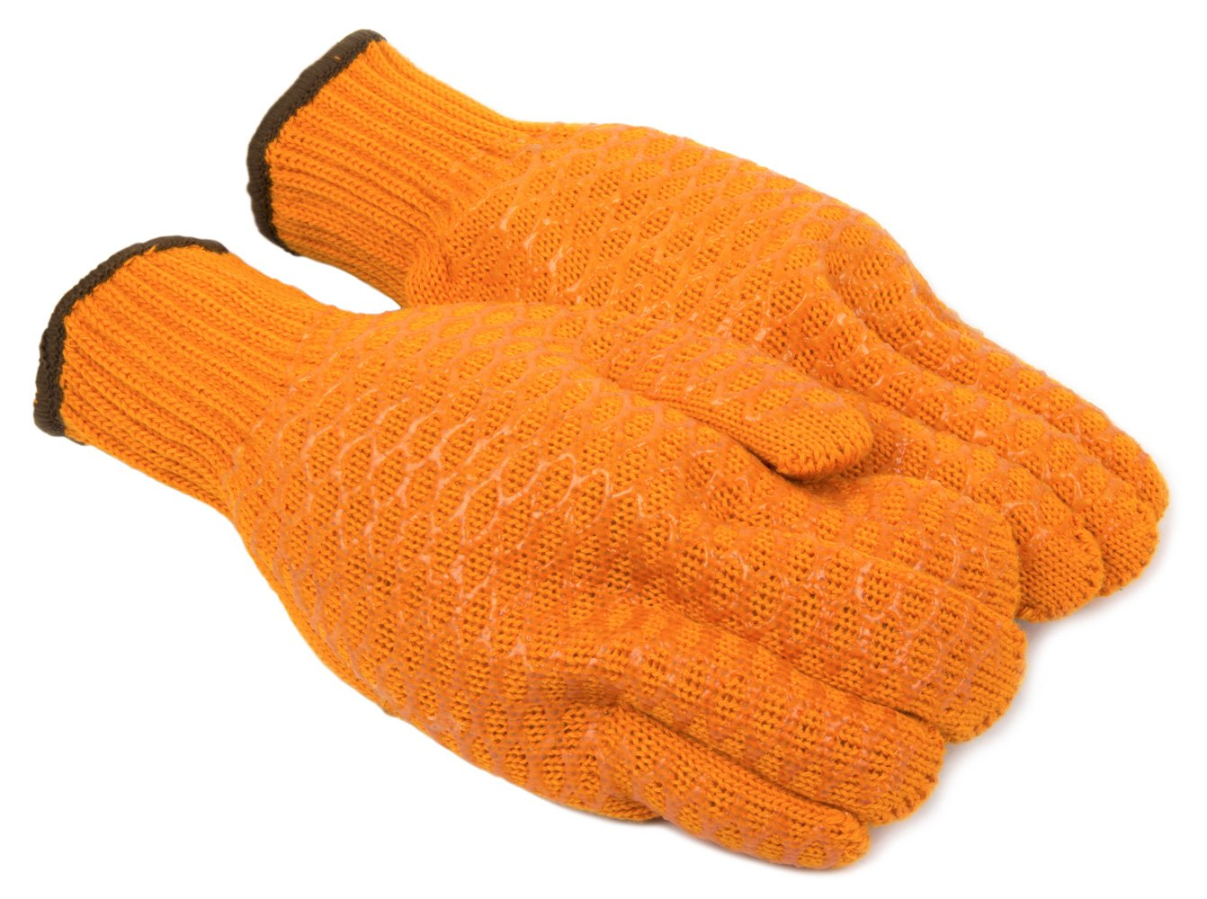 Orange Large Forney 53285 String Knit Honeycomb PVC Grip Mens Gloves