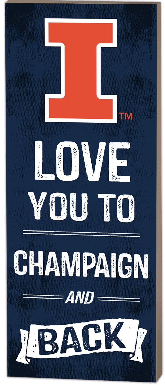 KH Sports Fan 7''X18'' Illinois Fighting Illini Love You to College Logo Plaque