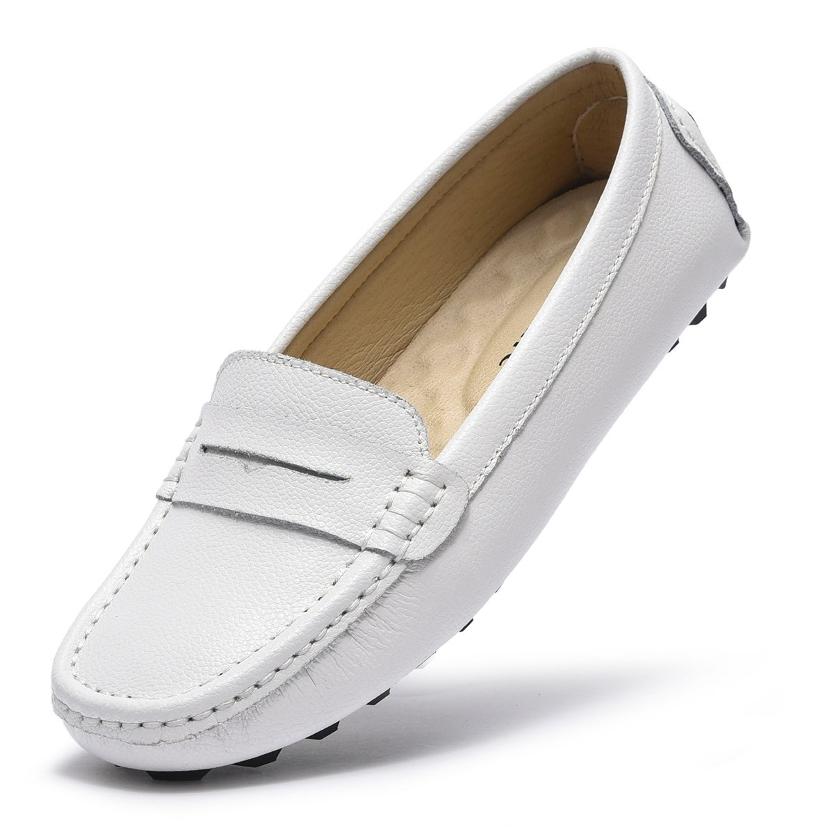 ARTISURE Women's Girls' Classic Handsewn White Genuine Leather Penny Loafers Driving Moccasins Casual Boat Shoes Slip On Fashion Office Comfort Flats 9 M US SKS-1221BAI90