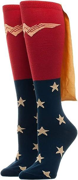Wonder Woman Shiny Cape Knee High Socks New