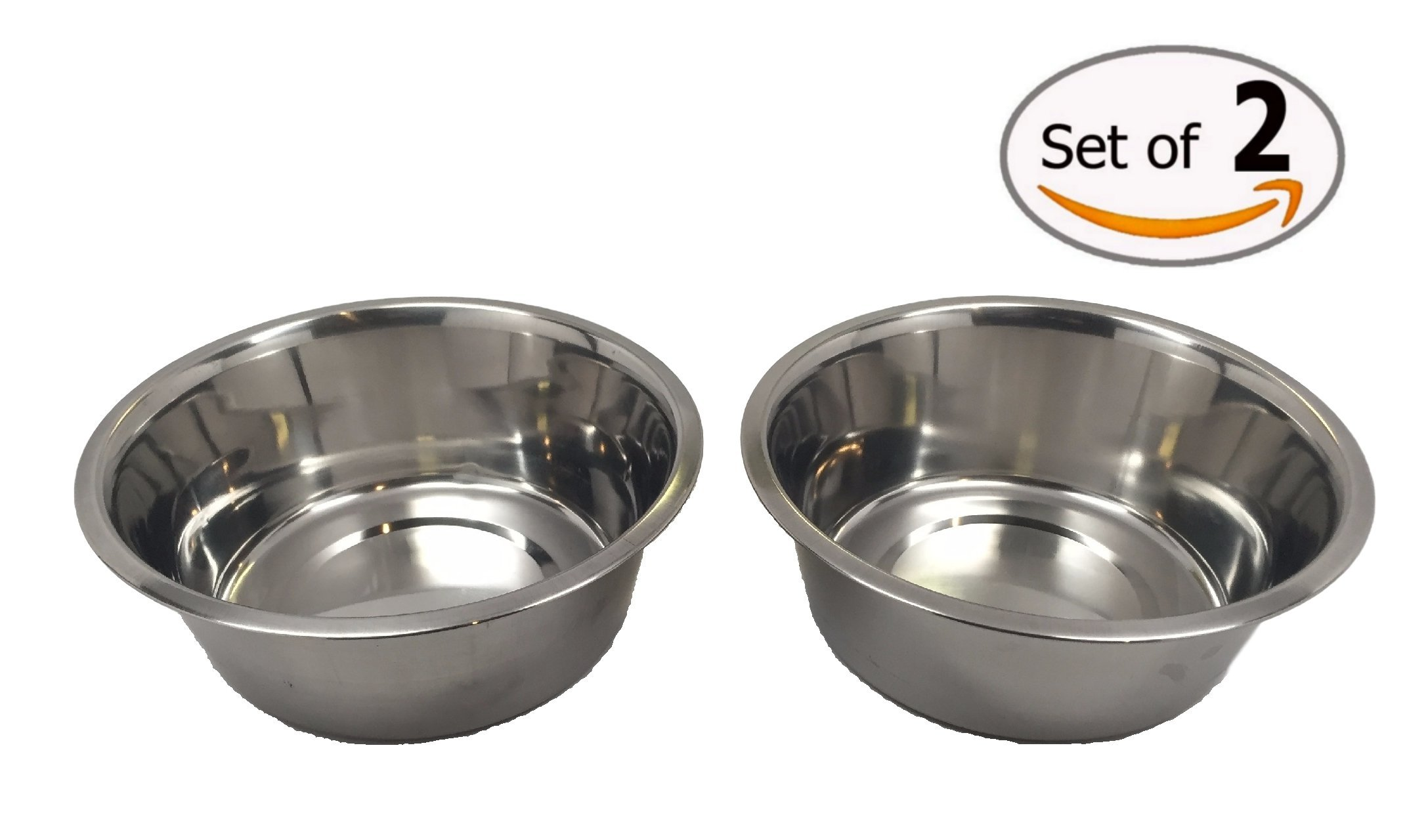 Stainless Steel Dog Bowl Set, 8'' Large, 64oz/2-Quart, Two Bowls One Low Price! Without Sticker.
