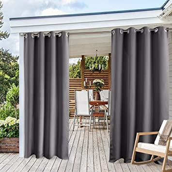 Blackout Outdoor Curtains For Patio   PONY DANCE Solid Indoor Outdoor  Shades For Porch Gazebo Privacy