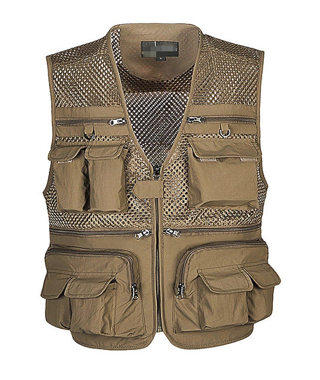 Gihuo Men's Summer Outdoor Work Safari Fishing Travel Vest Pockets