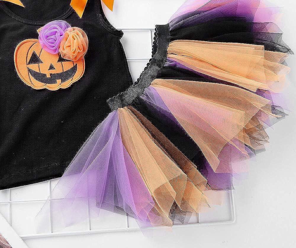 FANCYINN Baby Girls Halloween Tutu Outfit Christmas Costume Pumpkin Skeleton Tops Tiered Tulle Skirt 2pcs Set