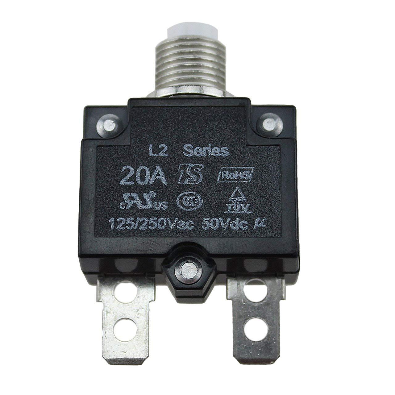 20A 30A Schutzschalter Wasserdichte Drucktaste R/ückstellbare Thermosicherung Schutzschalter Schalttafeleinbau 10A Monllack 5A 15A