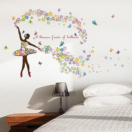 Wallpark Romantic Colorful Flower Fairy Ballet Dancer Ballerina Butterfly  Removable Wall Sticker Decal 24f9b85b5df1