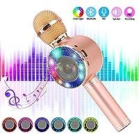SaponinTree Micrófono Karaoke Bluetooth, 4 en1 Microfono Inalámbrico Karaoke Portátil con Luces LED 7 Colores para Niños Canta Partido Musica Compatible con Android/iOS.