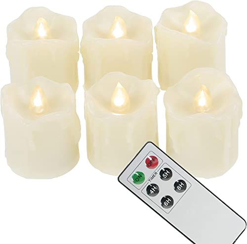 6 Battery Operated LED Votives with Remote Timer Small Unscented Flickering Flameless Electric Candles for Kitchen Home Decor Baptism Wedding Party Decorations Centerpieces Favors Gifts Batteries Incl
