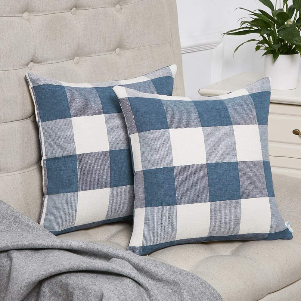 Anickal Set of 2 Dark Blue and White Buffalo Check Plaid Lumbar Pillow Covers Farmhouse Decorative Cotton Linen Throw Pillow Covers 12x20 Inches