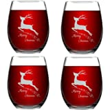 Set of 4 Merry Christmas Wine Glasses with White Christmas Deer Stemless Glasses Xmas Festival Decoration Christmas Holiday F