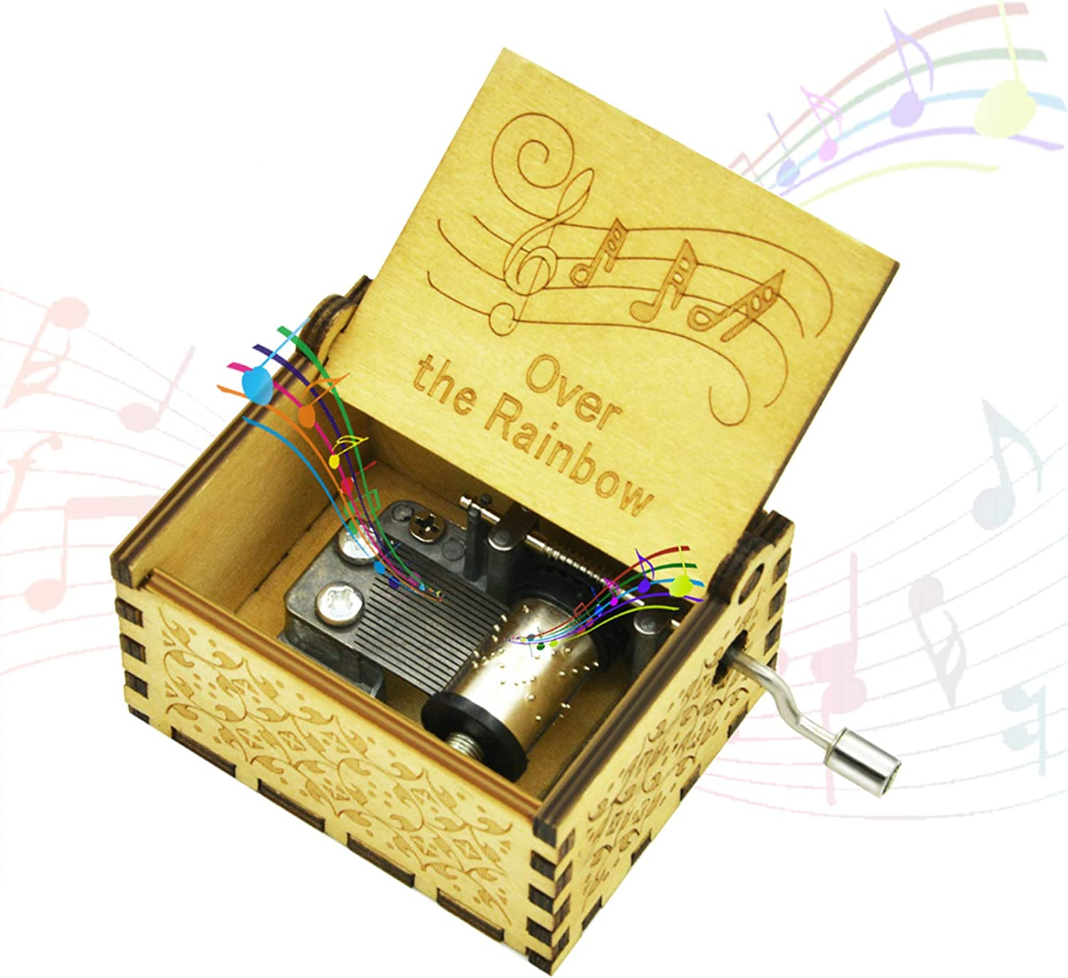 Randon Over The Rainbow Wooden Music Box Vintage Classic Hand Crank Carved Mini Musical Box Gifts for Birthday Christmas Valentine's Day Hand-Operated Toys for Kids Boys Girls (Wood-Over The Rainbow)