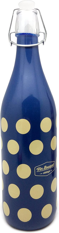 Vin Bouquet FIV 271 - Botella de Cristal Azúl Tapon Basculante 1 Litro, Botella Reutilizable Diseño Vintage