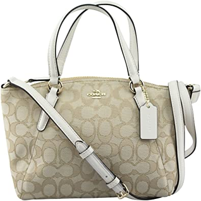 ce7899651f41 Coach F57830 Outline Signature Mini Kelsey Crossbody Satchel Bag Light  Khaki Chalk  Handbags  Amazon.com
