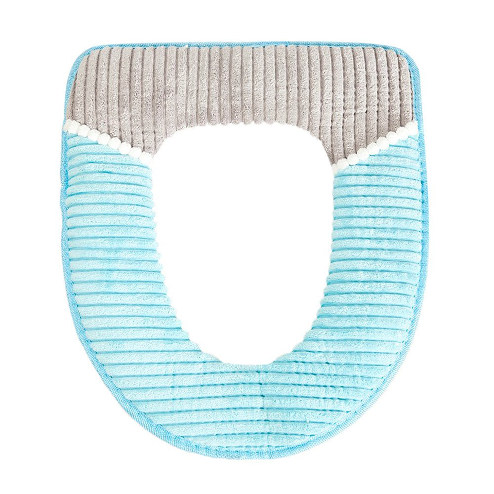 pengchengxinmiao Bathroom Toilet Seat Cover Protector Closestool Soft Warmer Non-Slip Corduroy Washable All Shape Lid Pad Cushion (Blue, Free)