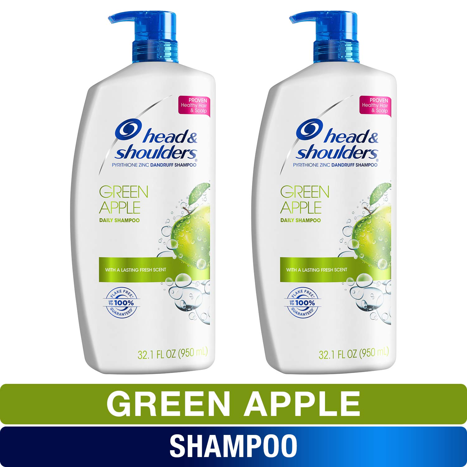 Head and Shoulders Shampoo, Anti Dandruff Treatment and Scalp Care, Green Apple, 32.1 fl oz, Twin Pack