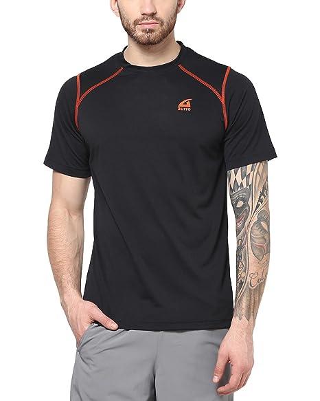 dcced4ece08 Aurro Sports Men s Polyester T Shirts Black ASCRNSS15-30014 Black XXL