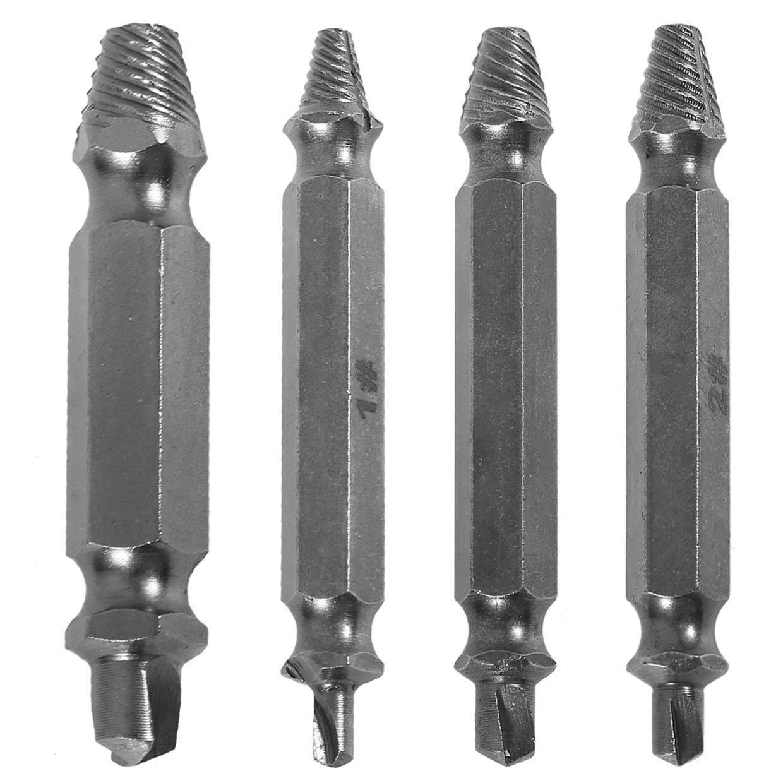4pcs set de tornillos de acero rotos Profesional Extractor roto perno removedor f/ácil Set Taladro vida Gu/ía de bits puestos Rone