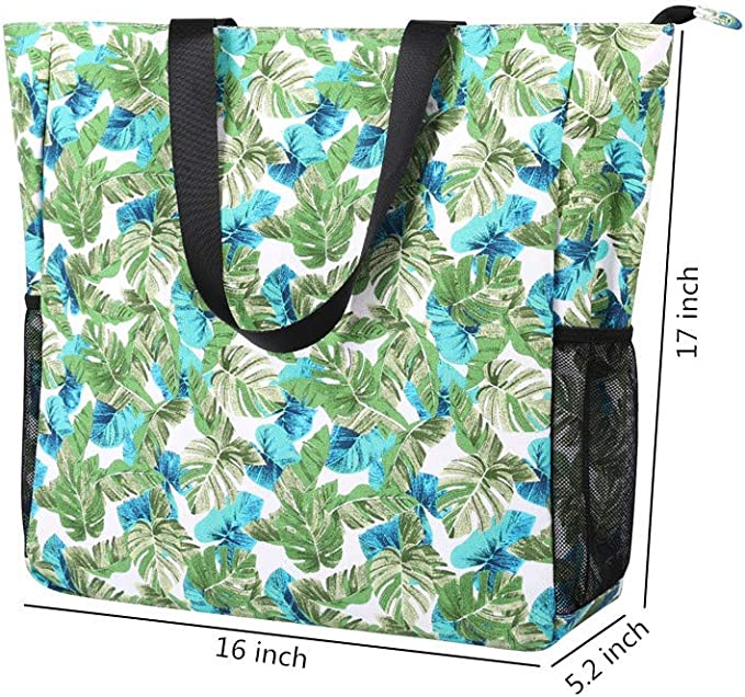 ODAWA Summer Waterproof Oversized Retro Beach Tote Women Canvas Utility Shopping Tote Bag with Zipper and Pockets for Unisex