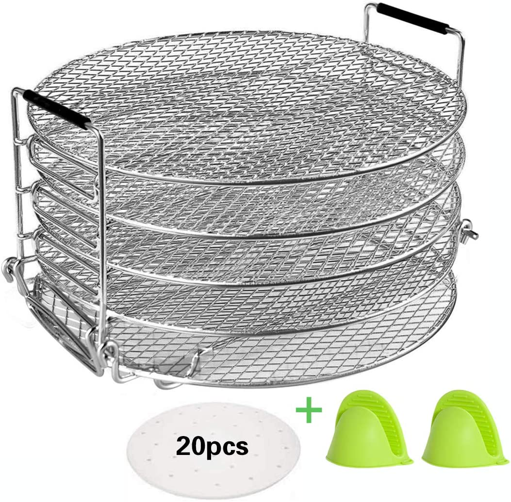Benooa Dehydrator Rack for Oven/Ninja Foodi Stainless Steel 5 Tier Dehydrator Stand&Parchment Paper Compatible With Instant Pot Duo Crisp(6.5-8qt) Pressure Cooker for Fruits Vegetable Beef