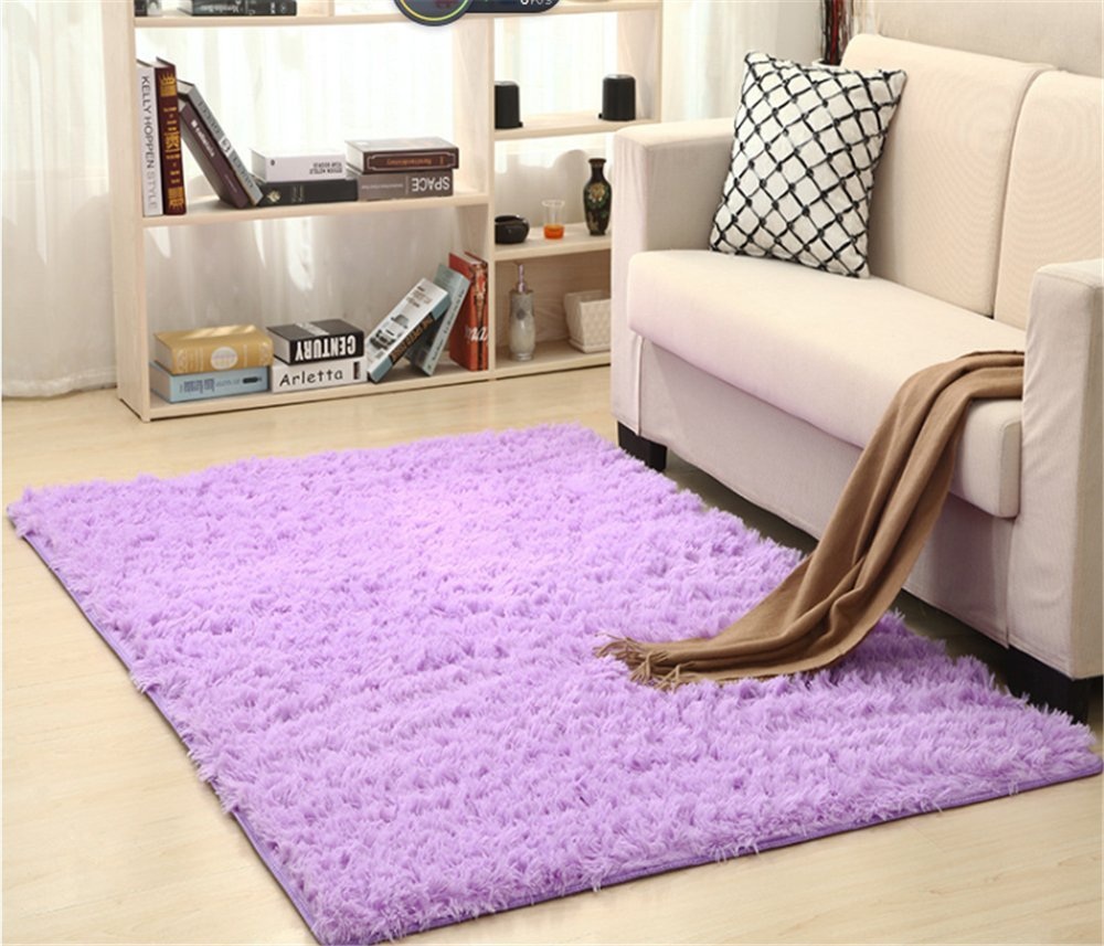 Snow bluee 6090CM 23.635.4  Solid Rectangle Soft Cozy Shaggy Area Rug Fluffy Thick Carpet Floor Mat for Home Living Bedroom Kids red