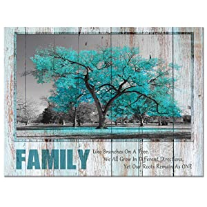 Visual Art Decor Sweet Home Rustic Teal Family Tree Quote Canvas Prints Poster Framed and Stretched Green Picture Love Rules Home Living Room Dining Room Decoration (01, 24x32)